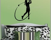 Vinyl Wall Decal FEMALE GOLFER SP-114