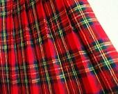 Vintage Pleated Tartan Skirt Plaid Checker Rich Scottish Red Blue White Size S / P
