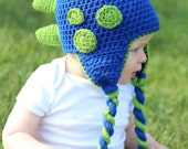 Dinosaur Hat Pattern - Crochet Pattern 26 - Beanie and Earflap Pattern - Newborn to Adult - INSTANT DOWNLOAD