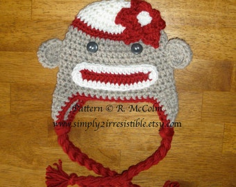 Sock Monkey Hat - Crochet Pattern 2 - Beanie and Earflap Pattern (us or uk Terms) - Newborn to Adult Sizes Included - INSTANT DOWNLOAD