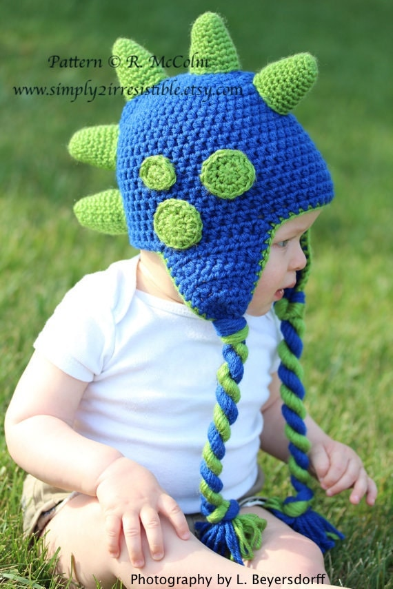 Free Crochet Pattern For Dinosaur Beanie : Dinosaur Hat Pattern Crochet Pattern 26 Beanie and Earflap