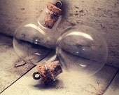 2 - Round Cork Bottle Charms, Clear GLASS, Antique Bronze Eye Hook, Vintage Jewelry Supplies 50