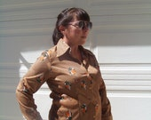 Womens 1970's Pretty In Brown Vintage Blouse