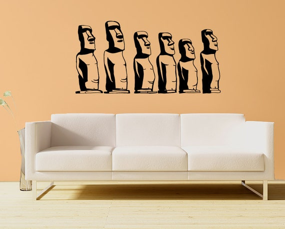 Easter Island statue wall decals, Moai monolithic ancient statues
