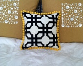 Small Black and white Geometric print Square Pillow with Fuzzy Yellow Pompoms