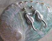 seahorse sterling silver earrings, lovers for life seahorse earrings, silver seahorse earrings, beachcomber earrings