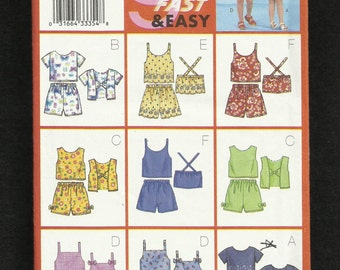 Butterick 3107 Summer Time Play Clothes for Girls Tops and Shorts to Mix and Match Sizes 6-7-8- UNCUT