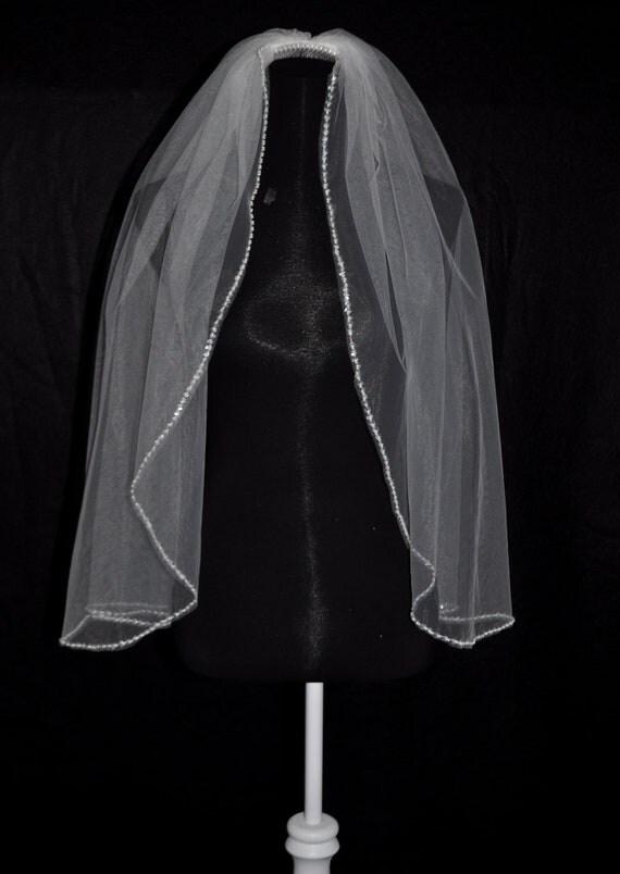 Ivory Fingertip Length Wedding Veil, 1 Tier with Beaded Edge