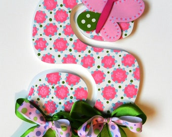 Hand Painted Wooden Letter Bow Holder - Butterfly