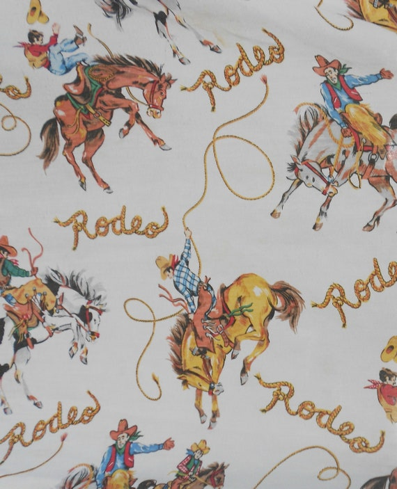 Vintage Rodeo Sheets 70 S Bedsheet Cowboy Blanket Country