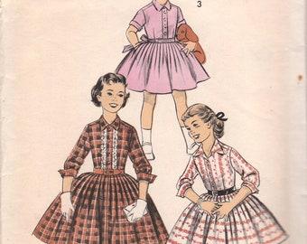1950s Girls Day Dress Pattern Advance 8023 Size 8