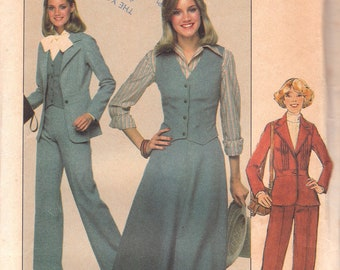 70s Fitted Vest, Jacket, Pants & Skirt Pattern Simplicity 8155 Size 12 Uncut