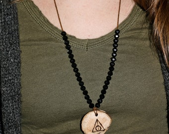 Master of Death wood pendant necklace