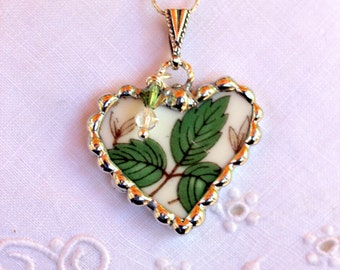 Broken China Jewelry, China Heart Pendant Necklace, Green Leaves, Sterling Silver Chain