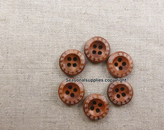 zakka Buttons,Brown Wooden buttons,Nature Style,Round,12mm Diameter -(5 in a set) (FN76)