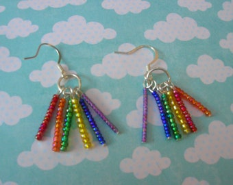 double rainbow seed bead handmade earrings