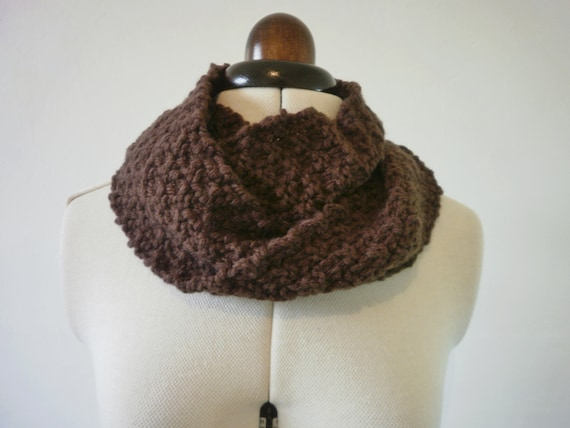 Brown cowl scarf chunky knit , brown infinity scarf , brown scarf