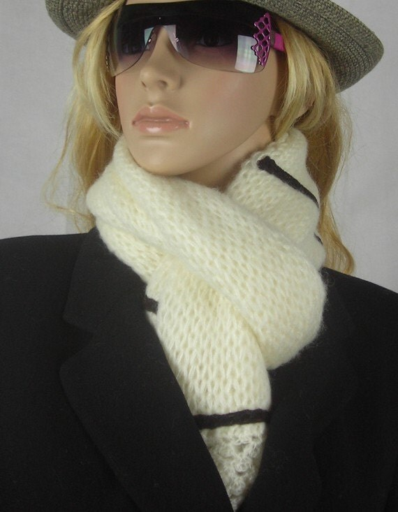 Knitted Scarf  - Bold Knit Scarf - - Multi functional - white with black stripe and crocheted trim - Ivory