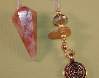 Dowsing Pendulum Sunstone Spiral of Life OOAK New Age Magick Witchy Pagan Wicca Divination 125142P