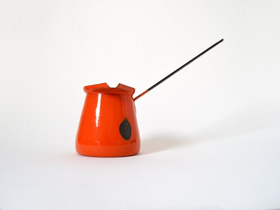 Red Orange Enamel Turkish Coffee Pot or Butter Warmer