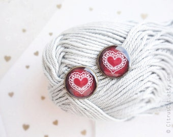 Red heart stud earrings - Romantic Valentine's Day gift