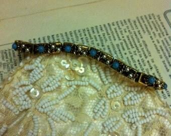 Vintage Gold Tone Faux Turquoise Stone Link Bracelet