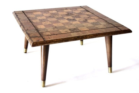 Mid-Century Game Table // Checkers Chessboard // Weathered Wood // Repurposed Board Game // Vintage Game Room