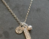 Custom Personalized Hand Stamped Where My Heart Is Compass Coordinates Sterling Adoption Engagement Soldier Charm Necklace