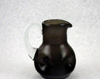 Bischoff Glass 311-1/2 Pinched Glass Pitcher in Charcoal - Vintage 1950s Window Glass