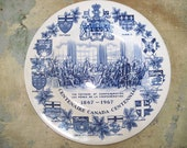 RESERVED for DAVE Blue Staffordshire Canada Centennial Plate 1867-1967 Excellent Condition