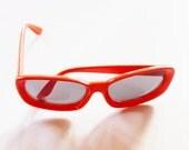 vintage sunglasses 1960s mod tangerine orange plastic made in Italy