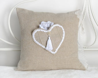 Valentine's Day 16x16 Linen pocket pillow cover, Pillow Cover, Pocket pillow, heart pillow, Romantic Gift, Linen and Lace, natural, organic