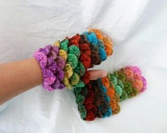 CROCHET PATTERN - Crocodile - Mermaid - Scale stitch - Crochet Fingerless Mittens - Simple Crochet Pattern -Crochet Hooks Holder-Crochet DIY