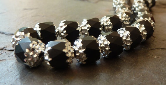 6mm Black Matte and Silver Cathedral Czech Glass Beads - 25pc Strand - Faceted, Fire Polished, Opaque - BD3