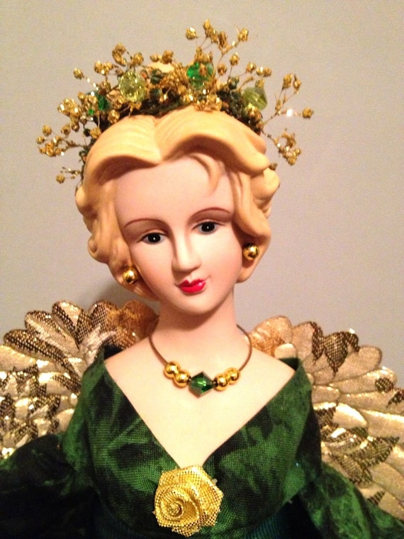 Christmas Angel Tree Topper Blonde Hunter Green By