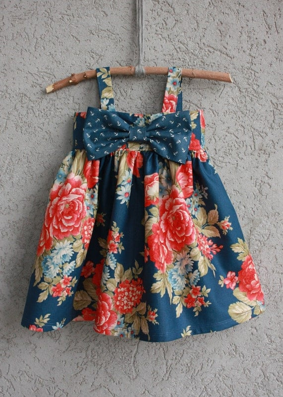 nautical big bow dress baby  toddler