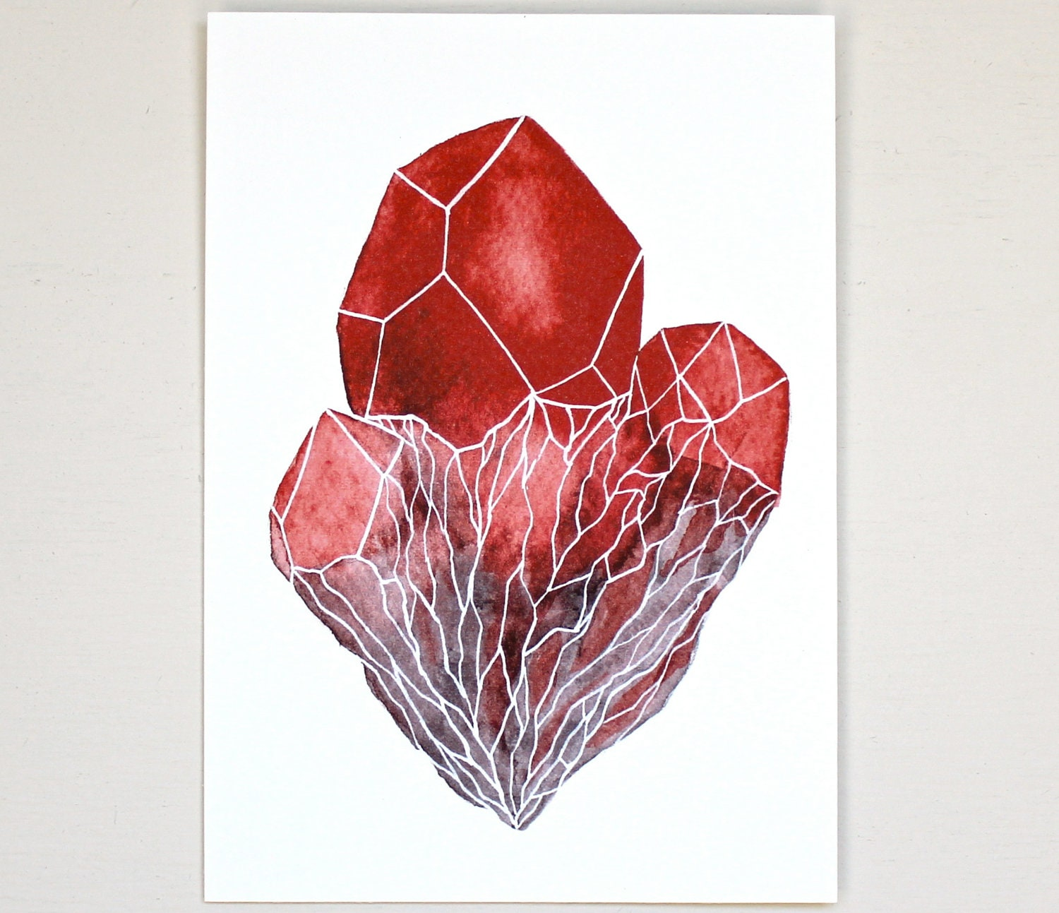 Gemstone crystal cluster watercolor art painting by riverluna for Paintings of crystals