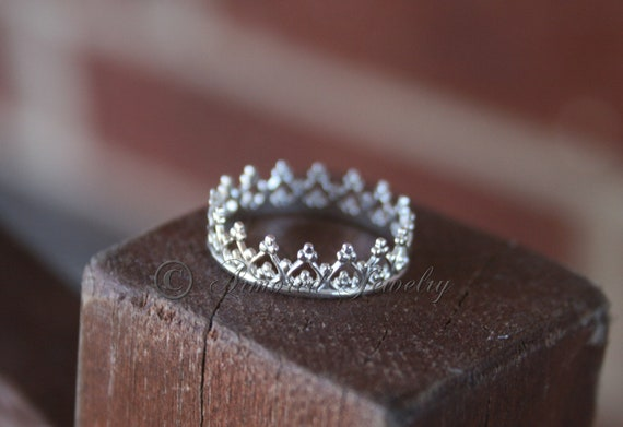 sterling silver princess prince royal crown ring by