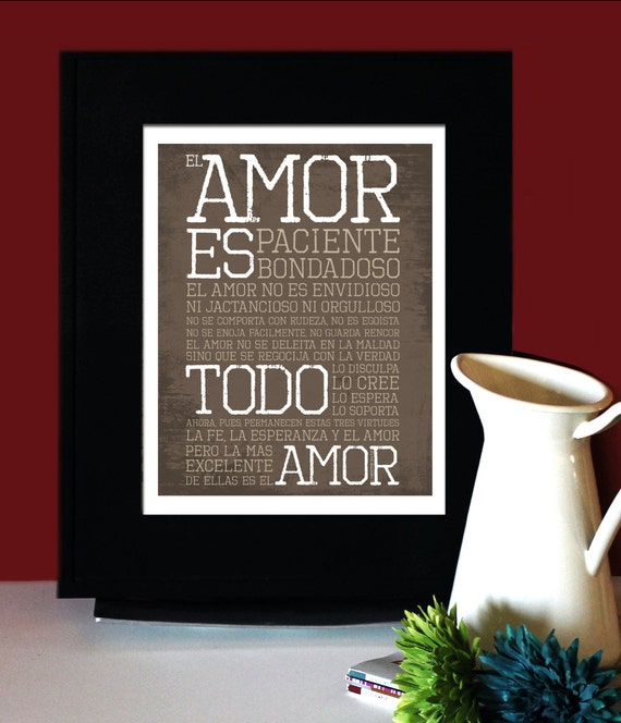 1 Corintios 13: El amor es paciente, El amor es bondadoso, Bible wedding verse in Spanish, Art for Print, Subway Art. Unframed