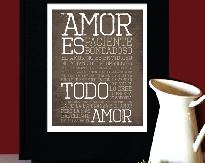 1 Corintios 13: El amor es paciente, El amor es bondadoso, Bible wedding verse in Spanish, Art for Print, Subway Art. Unframed