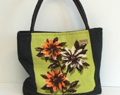 One of a kind, recycled floral needlepoint shoulder tote carryall. lined.