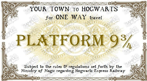 Hogwarts Express Train Ticket Personalized in 2 Sizes DIGITAL FILE by ...