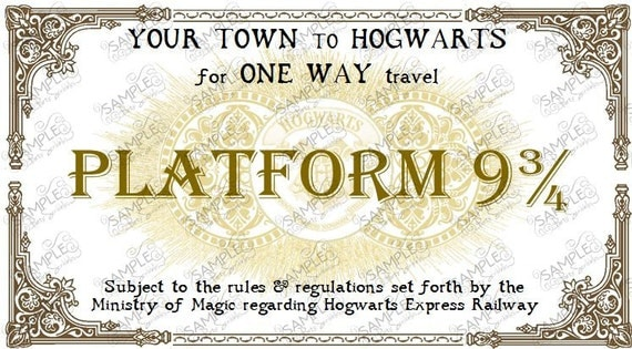 Hogwarts Express Train Ticket Personalized in 2 Sizes DIGITAL FILE