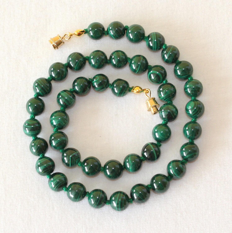 malachite necklace 8mm green malachite by mapenzigems