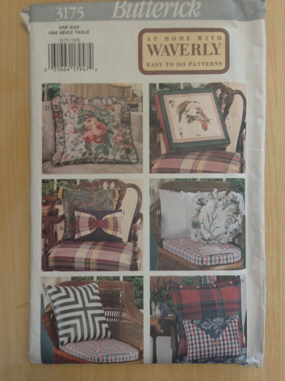 Butterick 90s Sewing Pattern 3175 Waverly Easy to do Pillows Sale