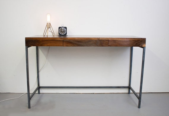 Walnut Desk - Solid Steel Base with Pencil Drawer