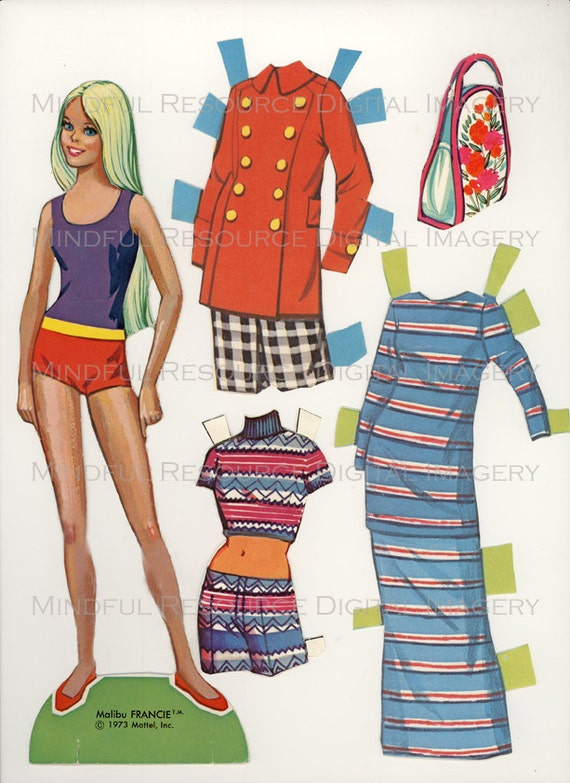 Sweet image with printable barbie paper dolls