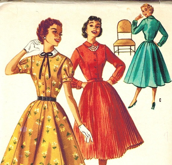 McCalls 3435 - Vintage 50s Full Skirt Dress with Two Skirts - UNCUT - Sewing Pattern Bust 33