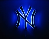 Custom order team logo lighted wall art, Yankees