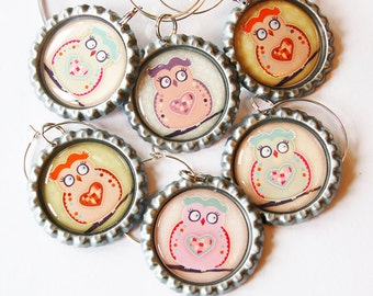 Owl Wine Charms, Wine Glass Charms, Wine Charms, Bottlecap wine charm, Barware, entertaining